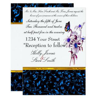 Tastefull Blue Daisies And Bufferfly Card