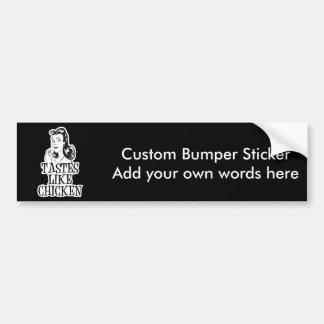 Tastes Like Chicken Retro Lady Bumper Sticker