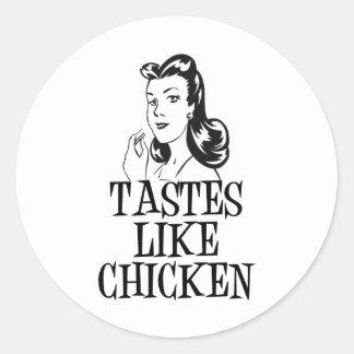 Tastes Like Chicken Retro Lady Classic Round Sticker