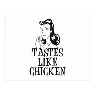Tastes Like Chicken Retro Lady Postcard