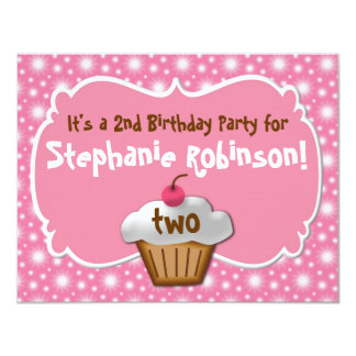 Tastey Frosted Cupcake 2nd Birthday 4.25x5.5 Paper Invitation Card