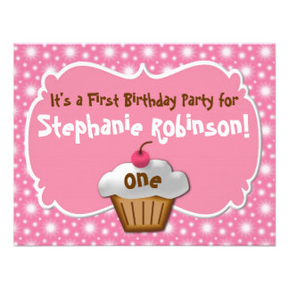 Tastey Frosted Cupcake First Birthday Invitations