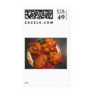 Tasty Animal Shape Pastry On The Plate Stamp