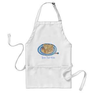 Tasty apple pie with funny maggot in hat art apron