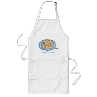 Tasty apple pie with funny maggot in hat art aprons