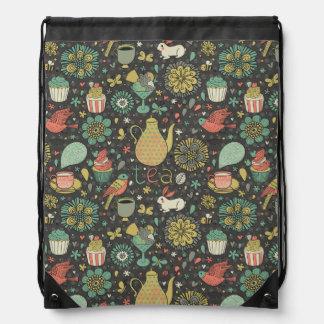 Tasty bright Tea Card Drawstring Bag