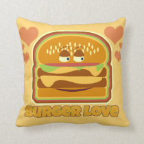 Tasty Burger Love Throw Pillow