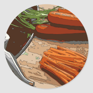 Tasty Carrots, Onions and Celery Chopped Up Classic Round Sticker