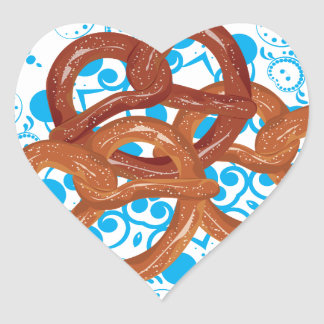 Tasty Cartoon Pretzel Heart Sticker