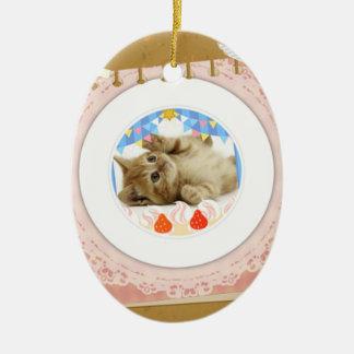Tasty cat ceramic ornament