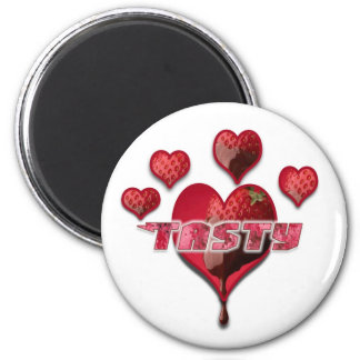 Tasty Dipped Strawberries 2 Inch Round Magnet