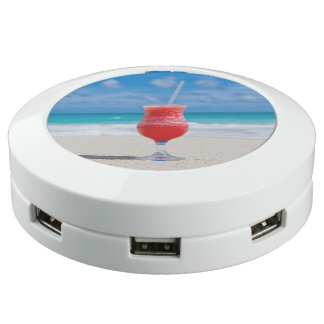 Tasty Drink on Tropical Beach USB Charging Station
