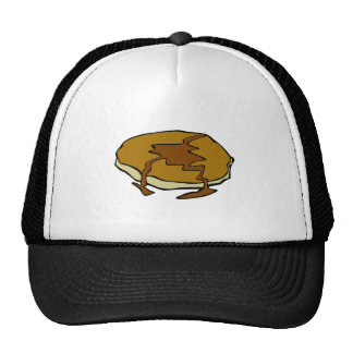 Tasty pancake with syrup mesh hats