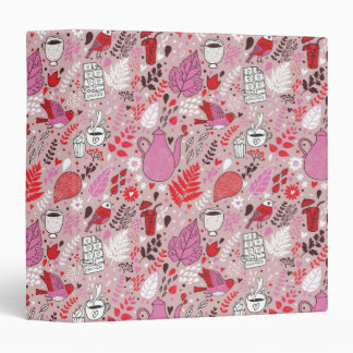 Tasty pattern with birds and flowers 3 ring binder