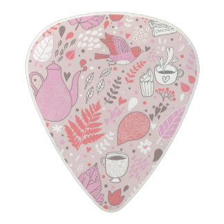 Tasty pattern with birds and flowers acetal guitar pick