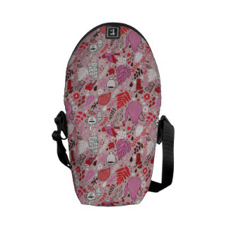 Tasty pattern with birds and flowers courier bag