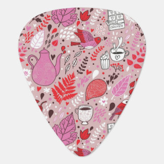Tasty pattern with birds and flowers guitar pick