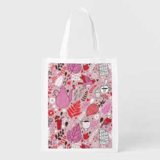 Tasty pattern with birds and flowers market tote