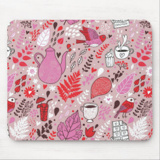 Tasty pattern with birds and flowers mouse pad