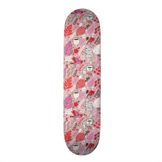 Tasty pattern with birds and flowers skateboard deck