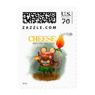 Tasty piece of Cheese and Cave Mouse Postage