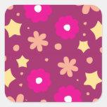 Tasty Pink & Purple Floral Pattern Square Sticker