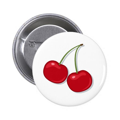 Tasty red cherries pinback button or badge