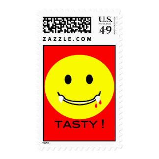 'tasty ' SMILEY FACE POSTAGE
