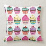Tasty Strawberry Cupcake Pattern Pillow