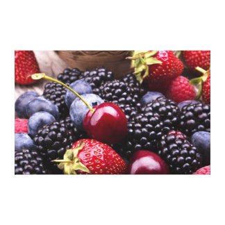 Tasty Summer Fruits On A Wooden Table Stretched Canvas Prints