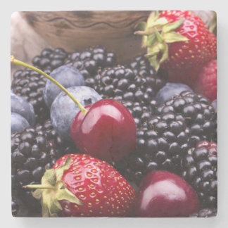 Tasty Summer Fruits On A Wooden Table Stone Beverage Coaster