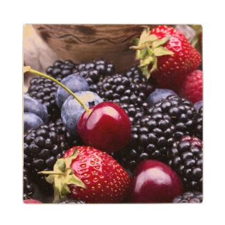 Tasty Summer Fruits On A Wooden Table Maple Wood Coaster