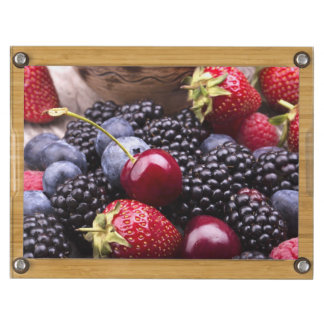 Tasty Summer Fruits On A Wooden Table Rectangular Cheeseboard