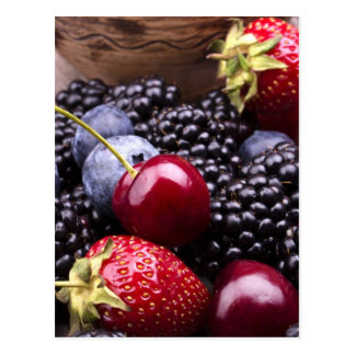Tasty Summer Fruits On A Wooden Table Post Card