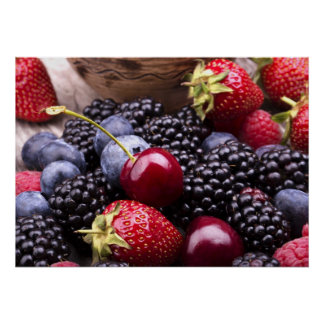 Tasty Summer Fruits On A Wooden Table Print