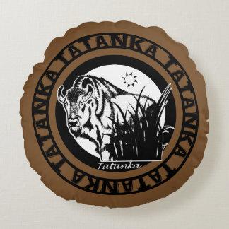 Tatanka (Buffalo) Black & White On Brown Round Pillow
