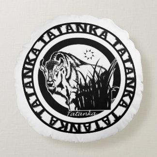 Tatanka (Buffalo) Black & White Round Pillow