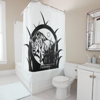 Tatanka (Buffalo) Black & White Shower Curtain