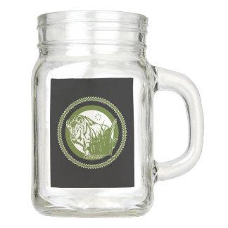 Tatanka (Buffalo) Green & White 2 Mason Jar