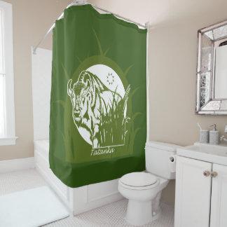 Tatanka (Buffalo) Green & White 4 Shower Curtain