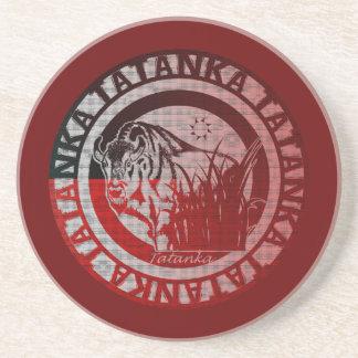 Tatanka (Buffalo) Red Black Pattern Drink Coaster