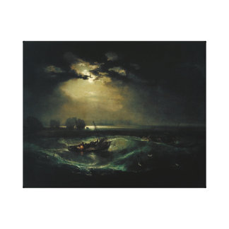 Tate fishermen at sea in bad whether  during night canvas print