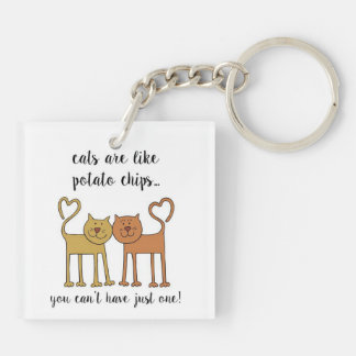 Tater Cats On the Go Double-Sided Square Acrylic Keychain