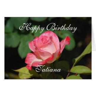 Tatiana Happy Birthday Pink and White Rose Card