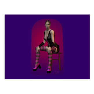 Tatiana Smoking Goth Punk Vampire 3D Pinup Babe Postcard