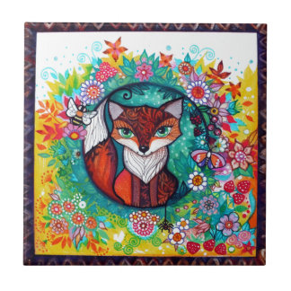 Tatoo fox ceramic tile