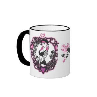 tattedup, hearts ringer mug