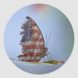 Tattered American Butterfly Classic Round Sticker