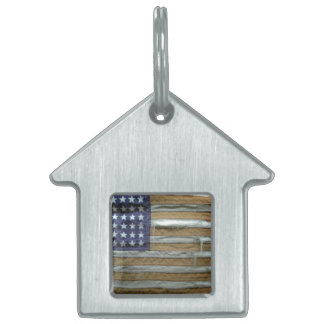 Tattered American Flag Pet ID Tag