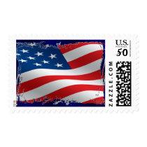Tattered American Flag Postage Stamp